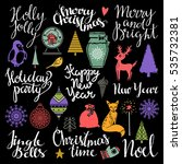 christmas and new year hand... | Shutterstock .eps vector #535732381