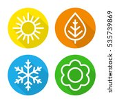 A Set Of Colorful Icons Of...