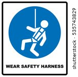 wear safety harness sign | Shutterstock .eps vector #535743829