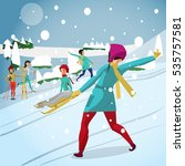young woman play snowballs on...   Shutterstock .eps vector #535757581
