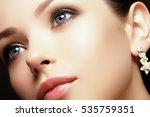 portrait of beautiful brunette... | Shutterstock . vector #535759351
