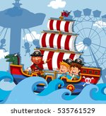 scene with kids on viking ship... | Shutterstock .eps vector #535761529