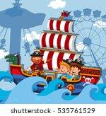 Scene with kids on viking ship illustration