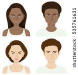 four people with skin problem... | Shutterstock .eps vector #535761631