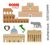 rome italy travel doodle with... | Shutterstock .eps vector #535765999