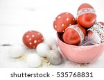 red easter eggs on white... | Shutterstock . vector #535768831