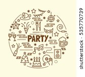 party minimal thin line icons... | Shutterstock .eps vector #535770739