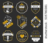 set of logos rock music and... | Shutterstock . vector #535780381
