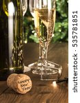 new year champagne on wood  ...   Shutterstock . vector #535781851