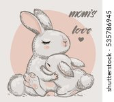 Cute Hares   Mom And Kid