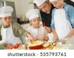 pastry class with kids little... | Shutterstock . vector #535793761