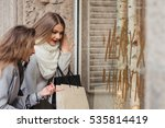 Two Fashion Girls With Shoppin...