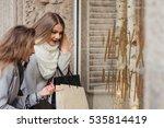 Two Fashion Girls With Shoppin...