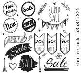 hand drawn sale tag set black...   Shutterstock .eps vector #535815325