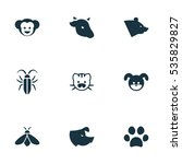 set of 9 editable animal icons. ...