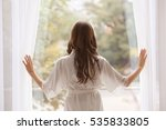 beautiful woman in white silk...   Shutterstock . vector #535833805