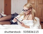 sexy smart blonde woman with... | Shutterstock . vector #535836115