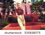 fashionable blonde woman in red ... | Shutterstock . vector #535838575