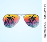 summer sunglasses with palms in ...   Shutterstock .eps vector #535839544