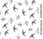 swallow bird vector pattern | Shutterstock .eps vector #535862581