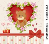 happy valentines day card with... | Shutterstock .eps vector #535865365