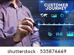 Small photo of Technology, Internet, business and marketing. Young business person sees the word: customer journey