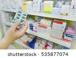 hand holding medicine capsule... | Shutterstock . vector #535877074