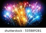 festive colorful fireworks on... | Shutterstock .eps vector #535889281