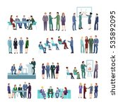 flat meeting conference groups... | Shutterstock .eps vector #535892095