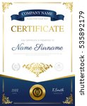 stylish certificate design with ... | Shutterstock .eps vector #535892179