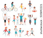 people flat fitness set with... | Shutterstock .eps vector #535892221