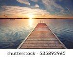 Long Boardwalk On The Lake In...