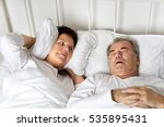 senior man snoring and woman... | Shutterstock . vector #535895431