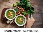 green cream soup of spinach and ... | Shutterstock . vector #535900651