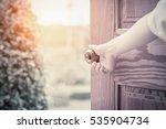 women hand open door knob or... | Shutterstock . vector #535904734