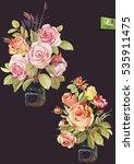elegant roses in glass vase...   Shutterstock .eps vector #535911475