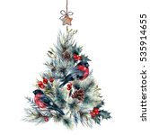 watercolor christmas tree made... | Shutterstock . vector #535914655
