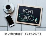 buy not rent blackboard concept.... | Shutterstock . vector #535914745