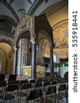 Small photo of Interior of the Basilica of Saint Ambrogio, golden altar and ciborium