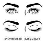 close and open eyes of... | Shutterstock .eps vector #535925695