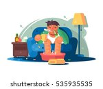 man sick with cold   Shutterstock .eps vector #535935535