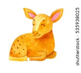 little bright watercolor deer... | Shutterstock . vector #535938025