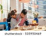 dad and daughter baking... | Shutterstock . vector #535950469
