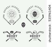 set of vintage hockey emblems ... | Shutterstock .eps vector #535961404