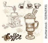 hand drawn set coffee background | Shutterstock .eps vector #535965931