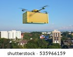 drone with cargo container... | Shutterstock . vector #535966159