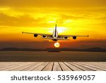 airplane flying above tropical... | Shutterstock . vector #535969057
