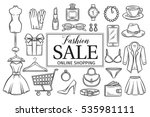 hand drawn fashion online shop... | Shutterstock .eps vector #535981111