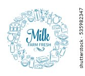 milk product banner. hand drawn ... | Shutterstock .eps vector #535982347