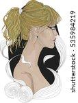 portrait of  beautiful blonde... | Shutterstock .eps vector #535984219